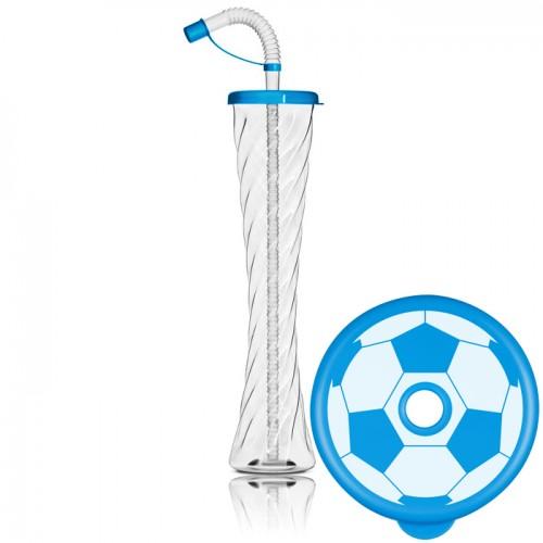 Gourde football avec couvercle plat 350 ml/12 oz.-bleu