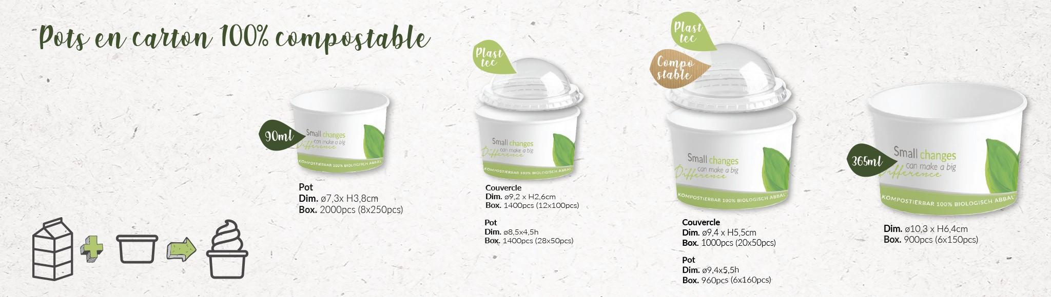 Pots 100% compostables