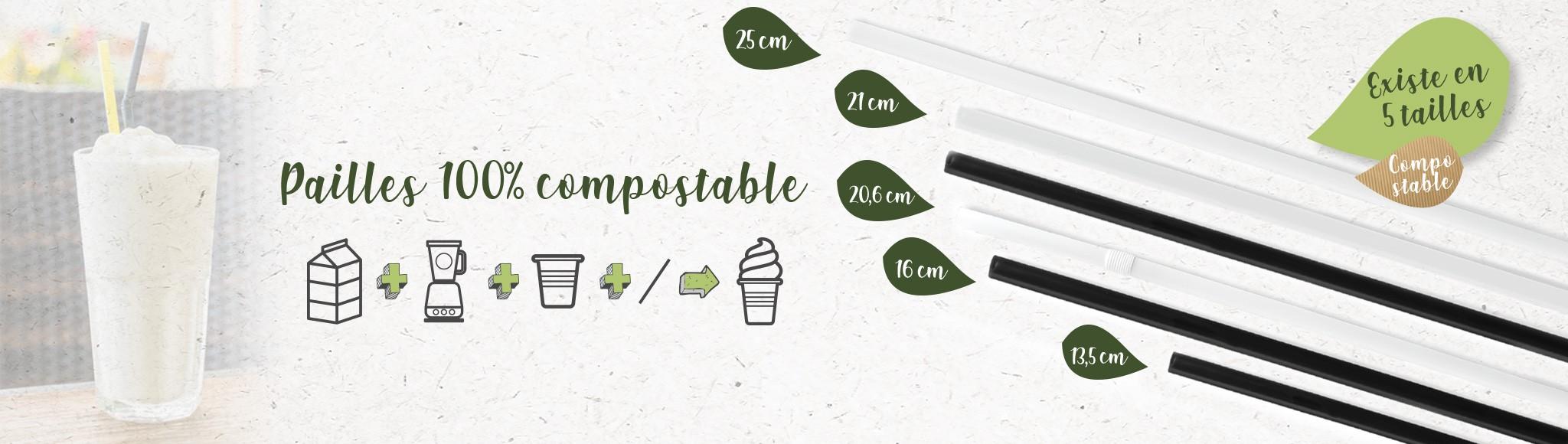 Pailles 100% compostables